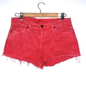 Hudson Red Cut Off Frayed White Washed Jean Shorts